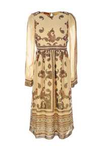 Robe longue georgette imprimée avec taille ajustée