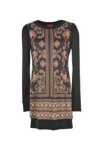 Robe imprimée en coton avec manches longues et col rond.